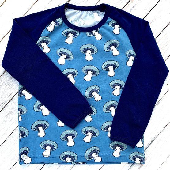 gomba motívumos hosszúujjú póló – kék